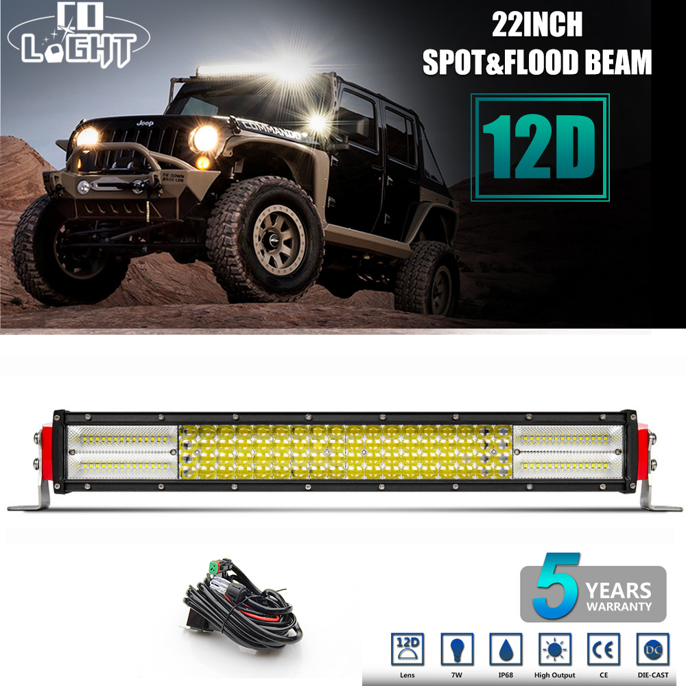 CO LIGHT 12D LED Light Bar 22 4 Row 384W Combo Led Work Light 12V Offroad Led Bar for Boat SUV ATV 4WD 4x4 Auto Driving Lamp 43inch led light bar 200w single row led work light combo offroad 4x4 led bar light car fog driving lamp for ford f150 f250 f350