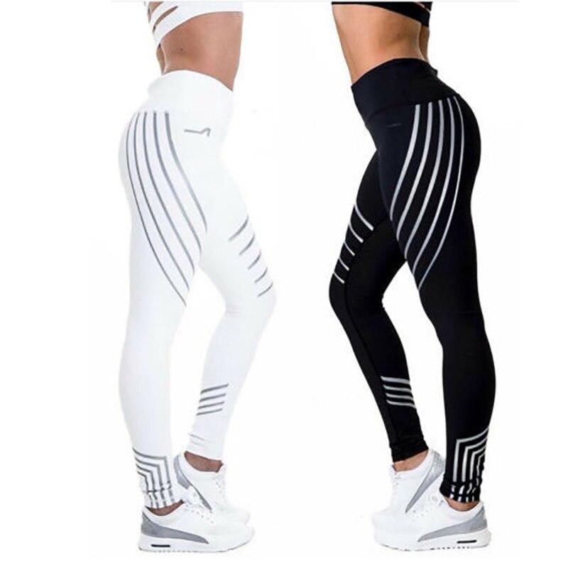 2018 Pantalones deportivos Leggings deportivos para mujer Pantalones de secado rápido para correr Leggins Quick Dry Night Glowing mallas Fitness