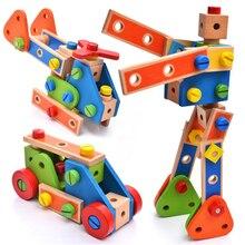 DOLLRYGA DIY Children Wooden Deformation Robot Building Blocks 5Models Handmade Educational Toys Kids Birthday Present
