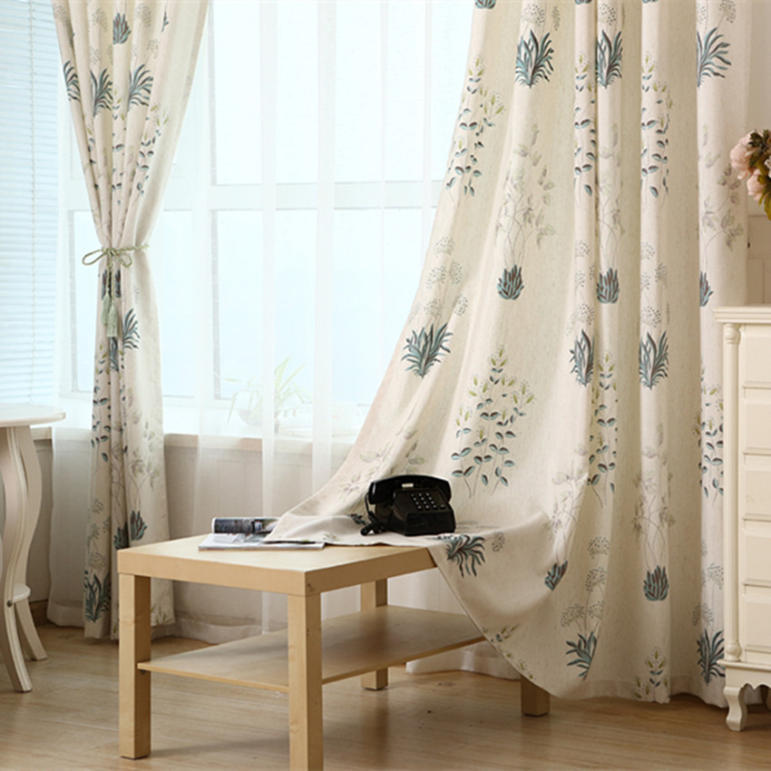 american country style curtain polyester linen rustic pastoral curtains home ready made for living room bed