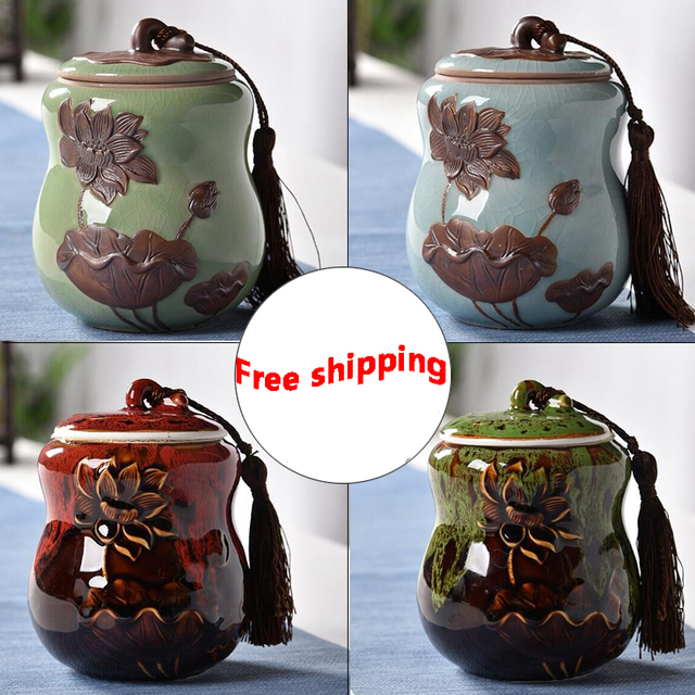 2018 Ceramic Tea caddy receive box candy storage box wedding favor container Christmas Party Gifts Lotus brother kiln 7 styles