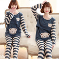 Summer Autumn Maternity Sleepwear Lounge Sets Nursing Tops + Stripe Pants Breast Feeding Pajamas Clothes For Pregnant Women