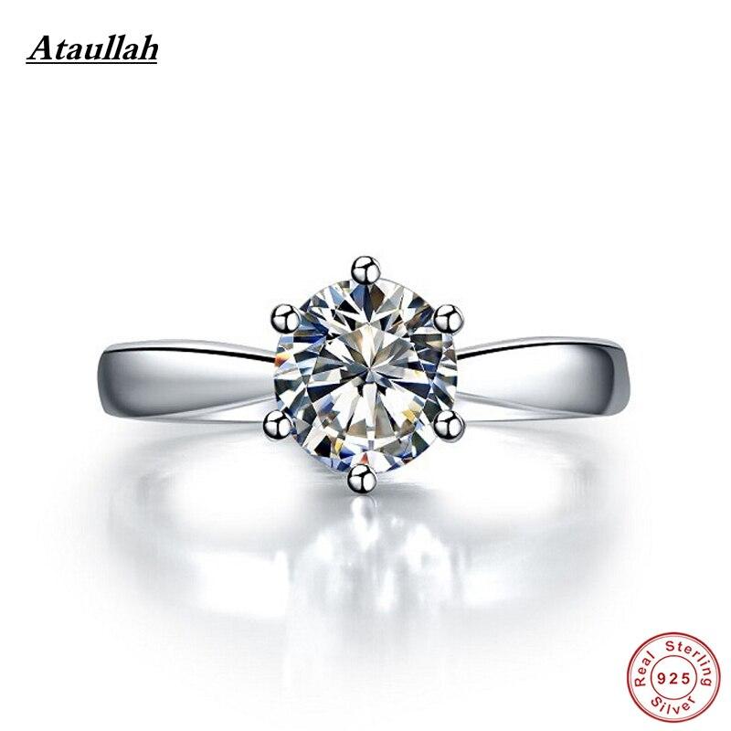 Ataullah 925 argent Sterling plaqué platine 3 carats SONA diamants bagues de fiançailles pour les femmes, bague en argent Sterling RWD001-3