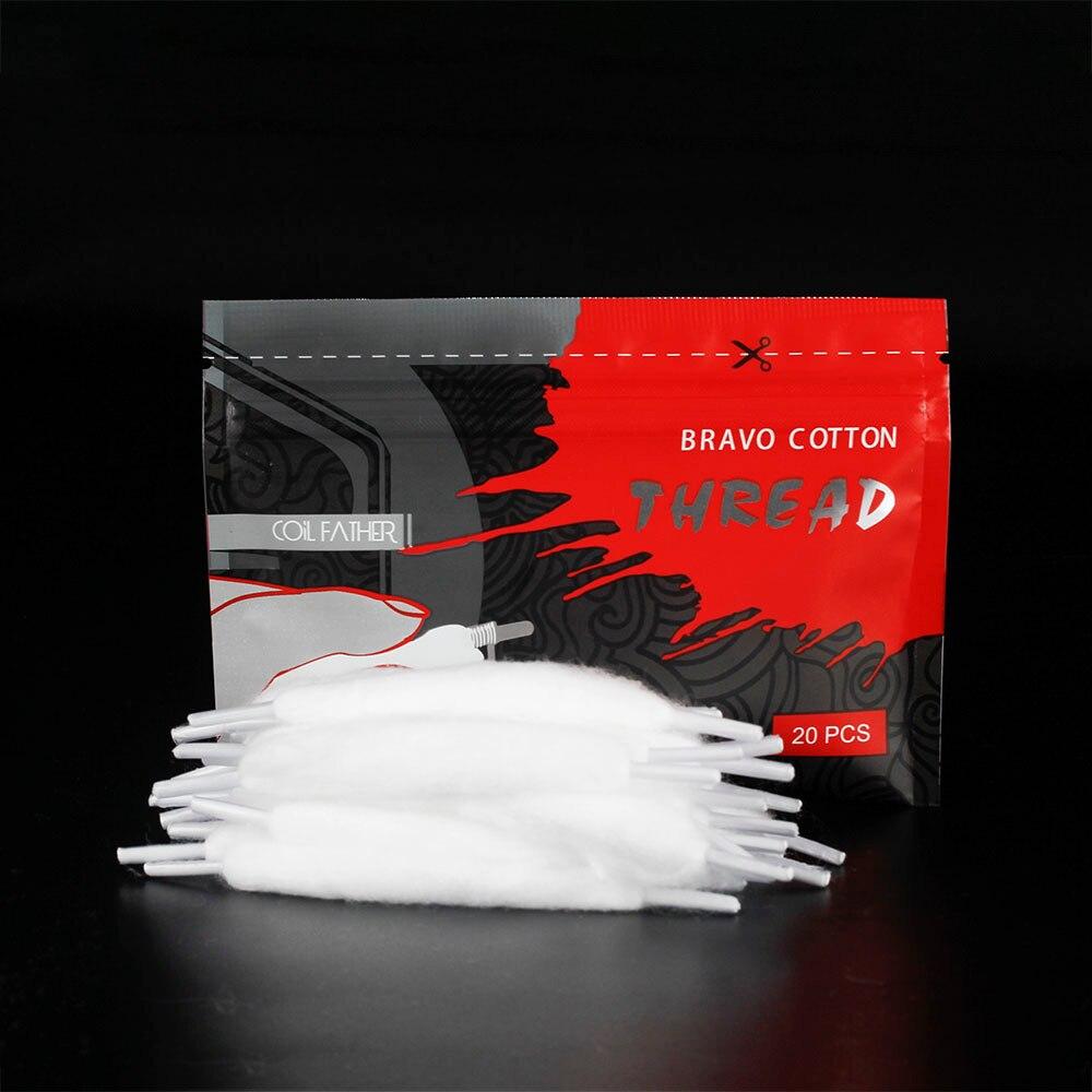 Coil Father 20pcs/bag Bravo Cotton Orgnic Cotton For Ecigarette Rebuildable RDA RBA DIY Vapor Cotton VS Vape Accessories