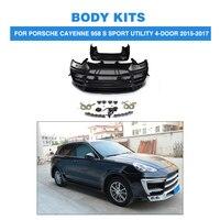Body Kits Front Rear Bumper Side Skirts wheel arch for Porsche Cayenne 958 S Sport Utility 4 Door 2015 2017 FRP Black