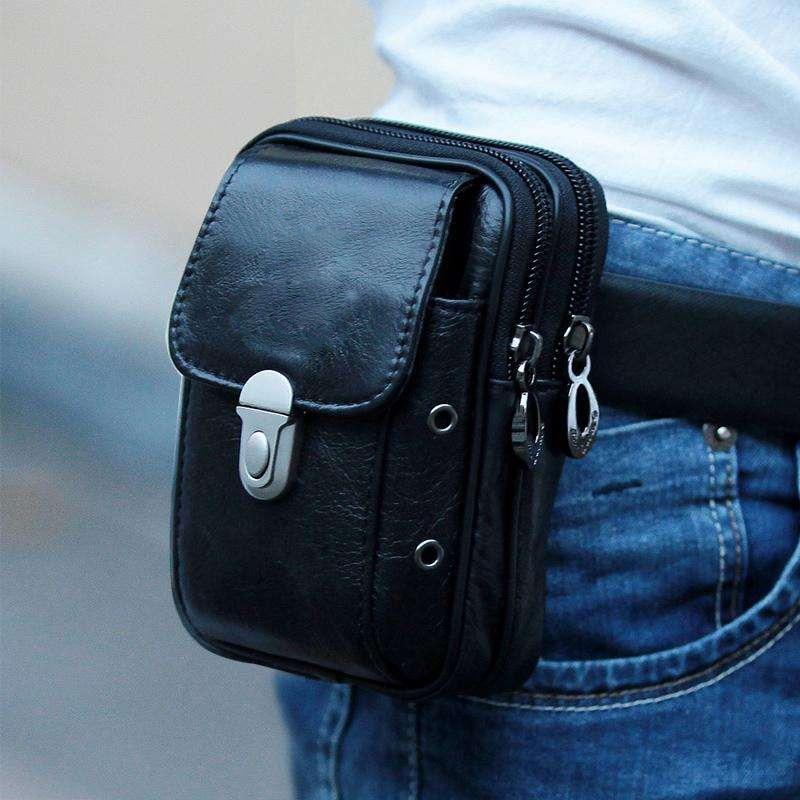 все цены на Hot sale Small waist pack bag men mobile phone portable pouch zipper bank card holder purse Bum belt waist packbag slim handbags