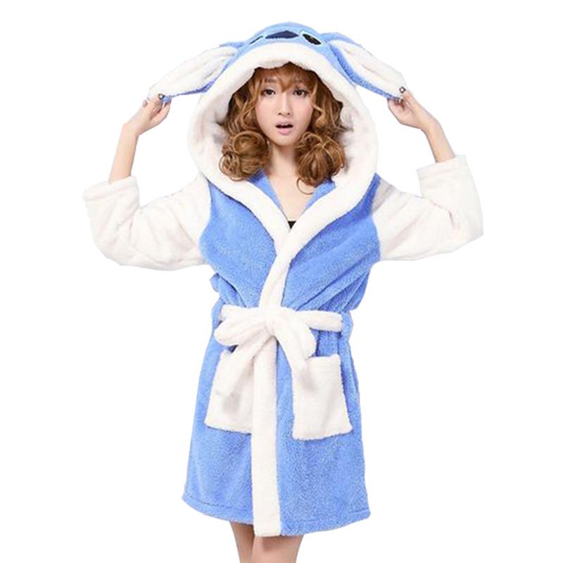 New-arrival-autumn-and-winter-women-s-cartoon-fleece-soft-bathrobe-with-hood-lovely-juniros-girls