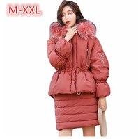 Зимняя женская дизайнеры юбка костюмы Для женщин модные Свободные толстый теплый хлопок Мягкий парки с капюшоном + юбка комплекты 2 шт.