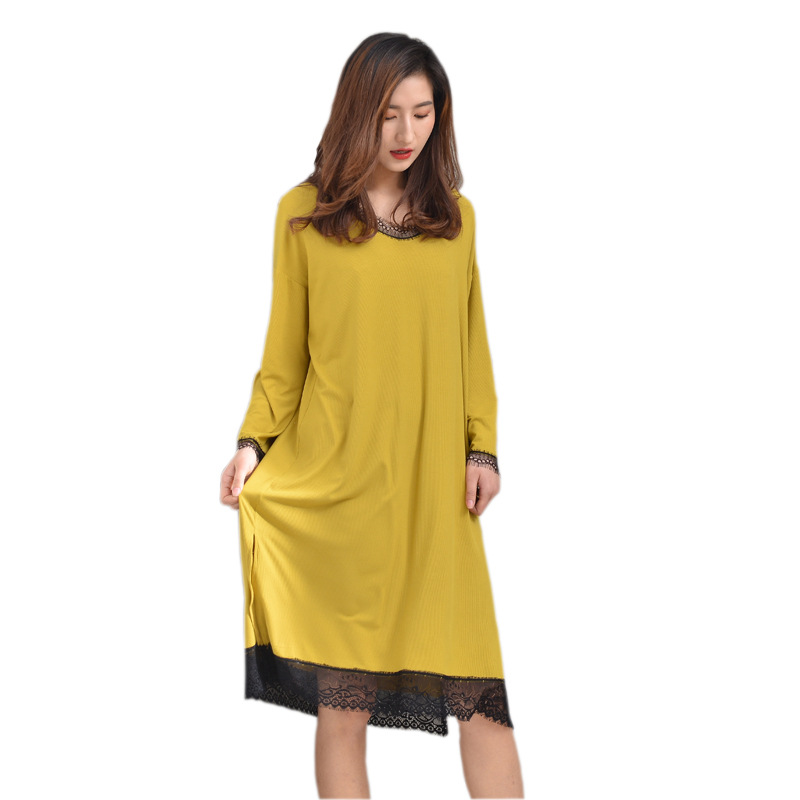 Summer Loose Modal Sleeping Skirt Summer Long Sleeve Lace Nightwear Plus Size Long   Nightgowns   Sexy   Sleepshirts   Naked Sleeping