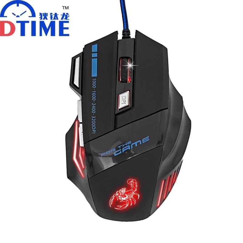 Dtime 7d Usb Juego Cable Del Raton 3200 Dpi Ratones Opticos Del