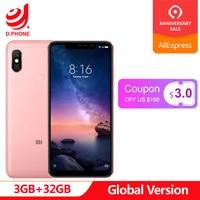 Global Version Xiaomi Redmi Note 6 Pro Mobile Phone 3GB 32GB Snapdragon 636 Octa Core 6.26 FHD+ Dual Camera 4000mAh Note6