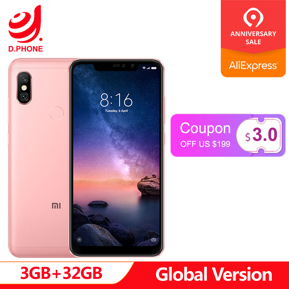 Version globale Xiaomi Redmi Note 6 Pro téléphone portable 3 GB 32 GB Snapdragon 636 Octa Core 6.26