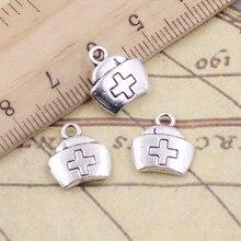 20 pçs encantos enfermeira boné cruz 13x12mm tibetano prata cor pingentes antigo jóias fazendo diy artesanal ofício