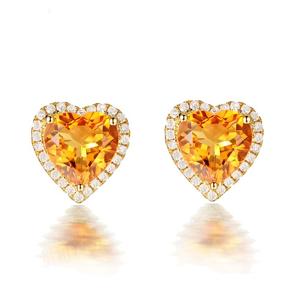 New 18K Gold Inlaid Zircon Classic Heart-shaped Citrine Stud Earrings for Women Yellow Colored Gemstone Jewelry Halloween Style women s new zircon inlaid letter round earrings