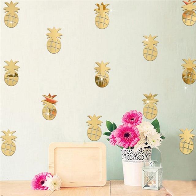 12 Teile/satz 3D Acryl Wandaufkleber Ananas Form Spiegel Aufkleber  Wandkunst Aufkleber Für Kinderzimmer Dekoration