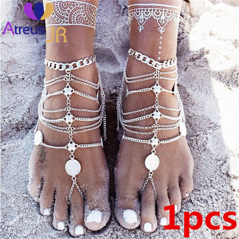 Jewelry Sets & More Anklets Intelligent Atreus Coins Anklet Boho Jewelry For Women Anklets Vintage Antique Silver Color Multilayer Ankle Bracelet Bohemian Foot Jewelry