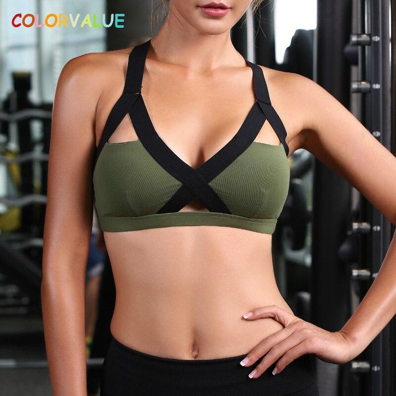 Colorvalue Sexy Push Up Sport Bras Women Padded Gym Fitness Bra Plus Size Wireless Underwear Shockproof Running Yoga Bra Top цена