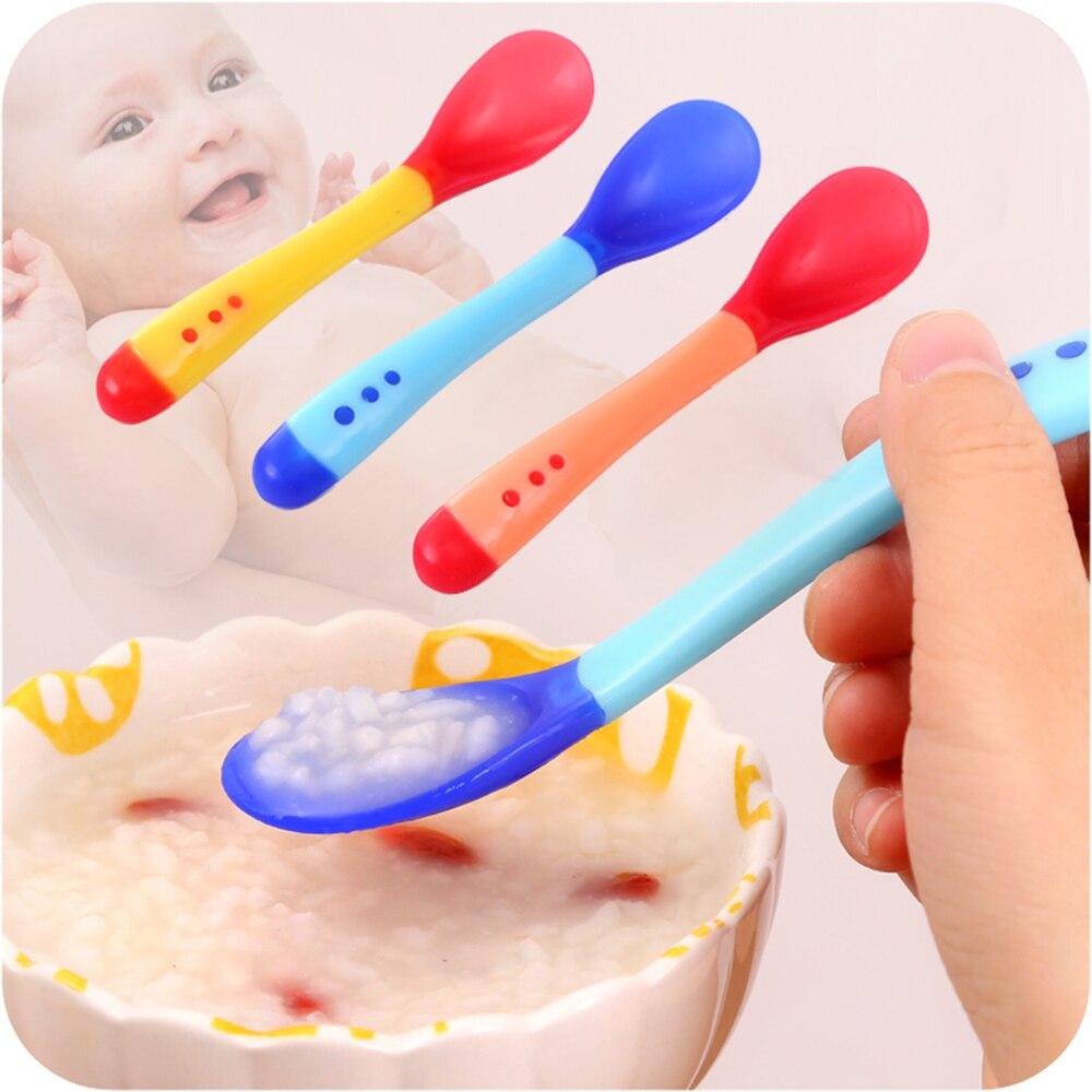 Baby Temperature Sensing Spoon Safety Silicone Feeding Flatware Kids Children Feeder Utensils Feeding Spoon Tableware