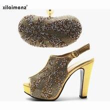 حار بيع الأحذية وحقيبة الذهب اللون عالية الجودة الايطالية النساء حذاء وحقيبة لمطابقة الأفريقية سوبر عالية الكعب حذاء حفلة