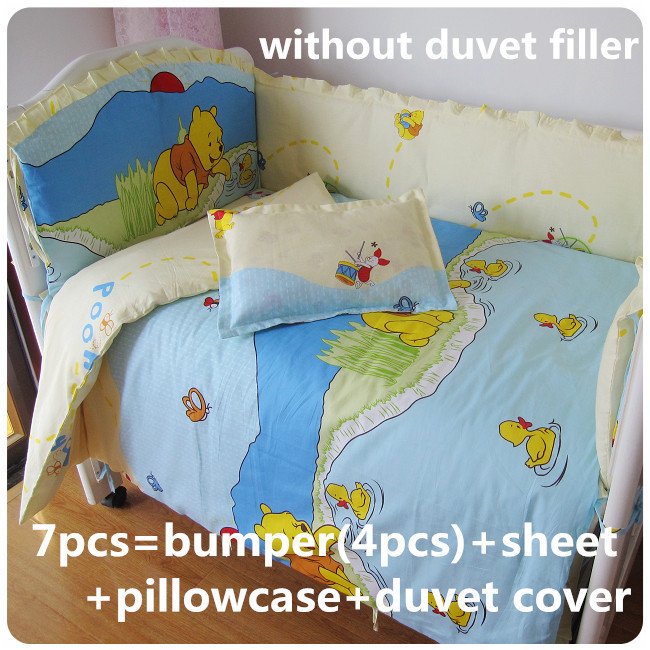 Promotion! 6/7PCS Baby crib bedding set cot bedding sets baby bed set 120*60/120*70cm