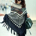 2017 Pull femme autumn poncho knitted sweaters Tassel loose batwing sleeve knitwear pullover cape Korean style elegant oversized