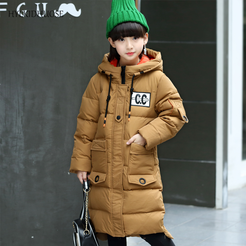HYLKIDHUOSE 2017 Winter Baby Girls Down Coats Long Casual Children Outdoor Windproof Jackets Kids Thick Warm Outerwear Parkas casual 2016 winter jacket for boys warm jackets coats outerwears thick hooded down cotton jackets for children boy winter parkas