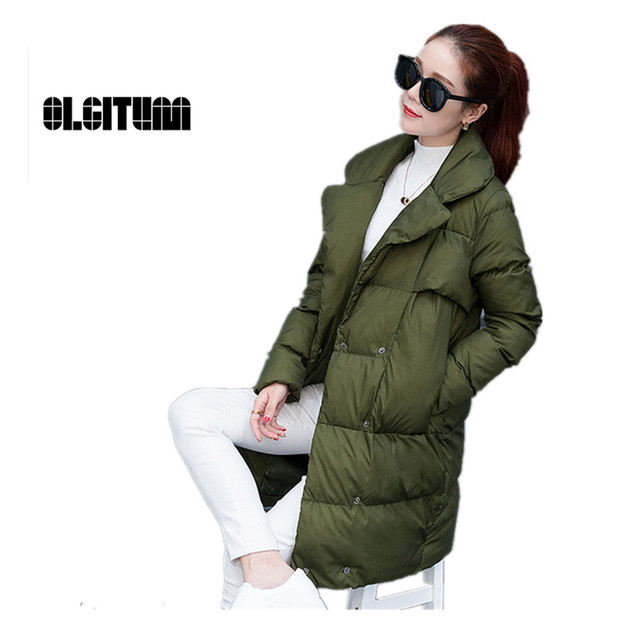 OLGITUM Осень и зима Новый пуховик в длинный участок толщиной хлопка женщин Тонкий пальто женская куртка LJ769