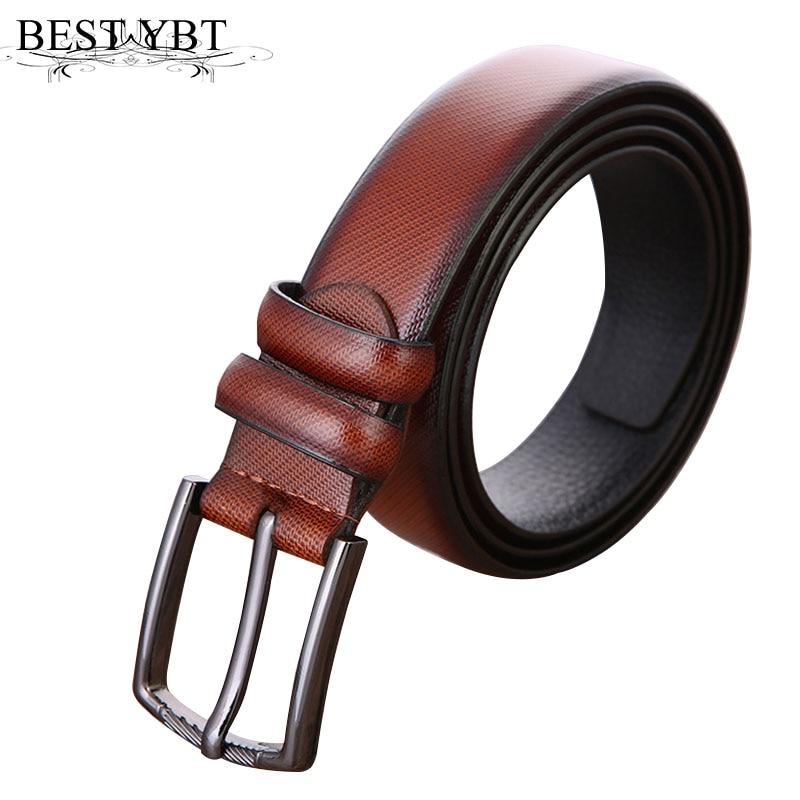 Best YBT Men Leather Belt Business Affairs Casual Belt Simplicity Alloy Pin Buckle Belt Split Leather Alloy Pin Buckle Belt