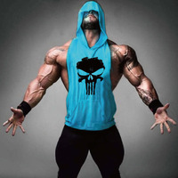Men's Loose Active Fitness Hooded Tank Tops For Men Print Beauty Bodybuilding Workout Sleeveless T-Shirts Vests Undershirt Tanks