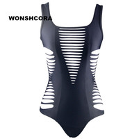 WONSHCORA New Hollow One Piece Swimsuit Fused Bandage Bikini Top And Bottoms Woman Swimming Trunks Sexy