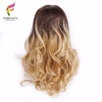 Ombre блондинка кружева парики 150% Плотность перуанский объемная волна Синтетические волосы на кружеве человеческих волос парики 26 дюймов пов