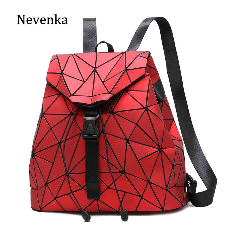 Nevenka Weibliche Rucksack Geldbörse Frauen Holographische Rucksack Damen Geometrische Rucksäcke Teenager Mädchen Kordelzug Taschen für Frauen 2018