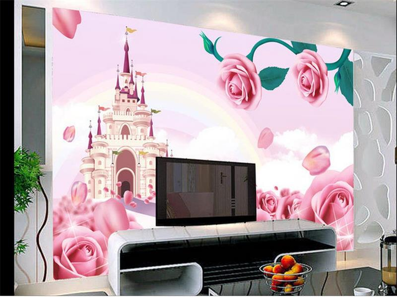 Benutzerdefinierte 3d fototapete kinderzimmer mural schloss rote ...