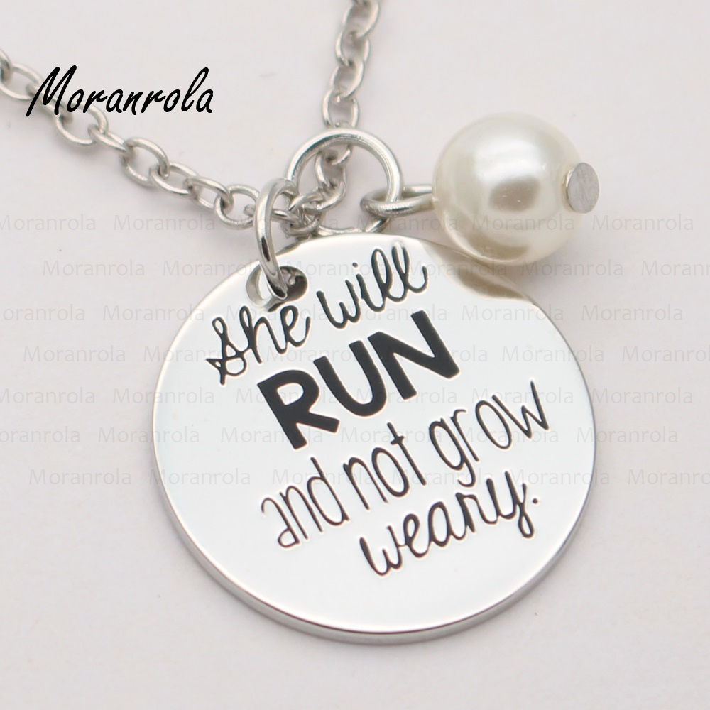 new arrive she will run and not grow weary necklace keychain