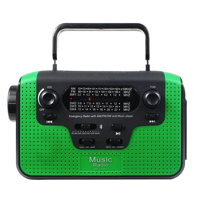 Рукоятка Радио Чрезвычайных Радио FM/AM/SW Многополосный Радио Приемник Bluetooth Динамик Фонарик Портативный Y4380G