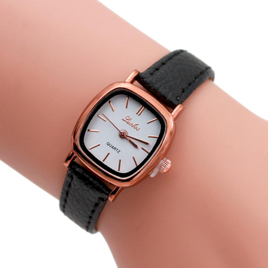 Luobos Women Simple Watch Leather Band Analog Quartz