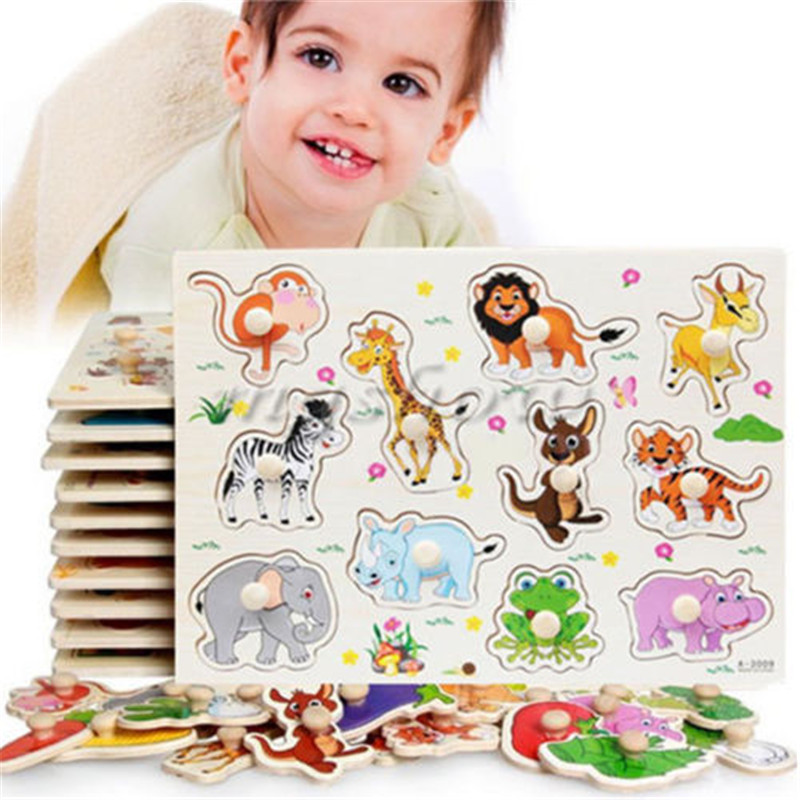 ФОТО new zoo animals wooden jigsaw baby kids learning educational puzzle toy