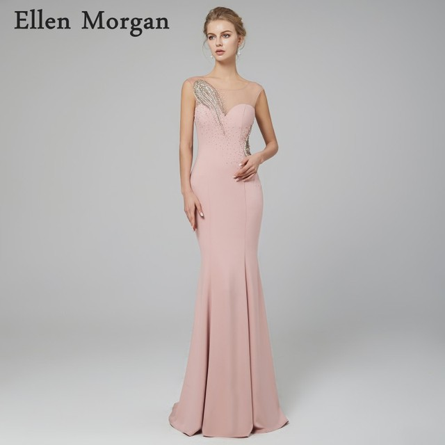 Sexy Mermaid Long Evening Dresses 2018 Robe De Soiree Elegant Beaded Illusion Sparkling Formal Prom Party Gowns for Women Wear