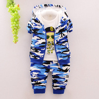 New 2016 Autumn Children Wear Suits Baby Girls Boys Clothes Sets Camouflage Color Cotton Coat T