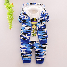 New 2016 Autumn Children Wear Suits Baby Girls Boys Clothes Sets Camouflage Color Cotton Coat+T Shirt+Pants Infant Casual Suits 3 pcs 1 lot 2016 winter baby girls boys clothes sets children down cotton padded coat vest pants kids infant warm outdoot suits