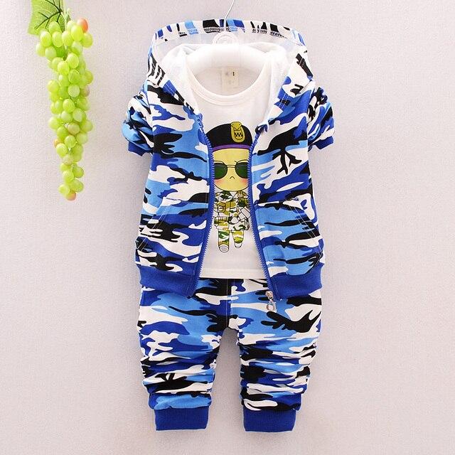 New 2016 Autumn Children Wear Suits Baby Girls Boys Clothes Sets Camouflage Color Cotton Coat+T Shirt+Pants Infant Casual Suits