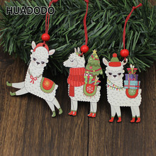 HUADODO 3Pcs Wooden Alpaca Christmas Pendants Ornaments Xmas Tree Hanging Decoration for home New year Decor kids toys(China)