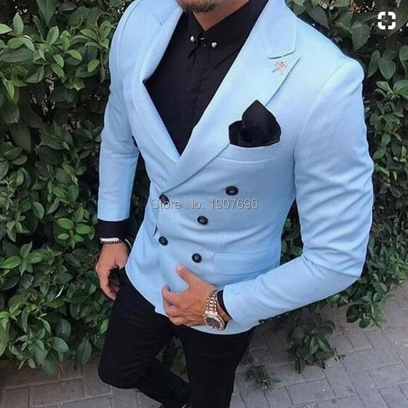 Double Breasted Slim Fit Men Suits For Wedding Prom Dress Two Piece Set Jacket Black Pants Male Clothing
