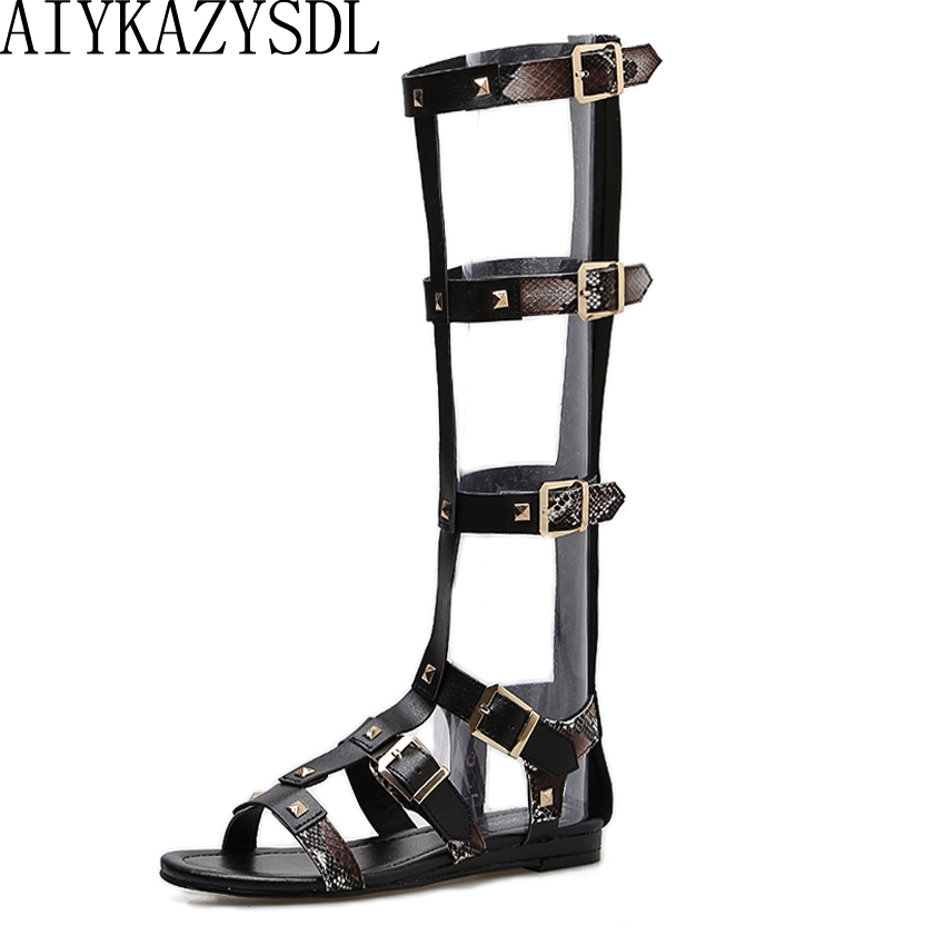 AIYKAZYSDL 2018 Sexy Women Gladiator Sandals Motorcycle Open Toe Summer Knee High Boots Buckle Strap Mixed Color Sandals Flats aiykazysdl summer women sandals thick