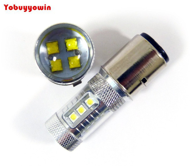 2pieces lot 6v 24v motorcycle led bulbs ba20d h6 80w cree chip led white headlight high low beam. Black Bedroom Furniture Sets. Home Design Ideas