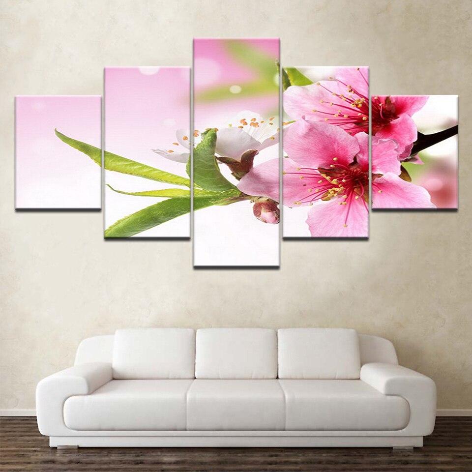 3 Piece Purple Cherry Blossom Muti Panel Abstract Modern: National Cherry Blossom Flowers 5 Panels HD Print Wall Art