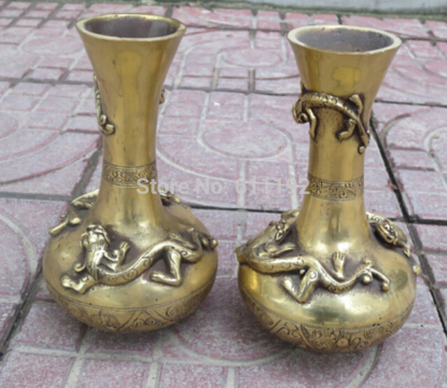 7 Inch High A Pair Chinese Antique Metal Crafts Brass Vases Carved 3