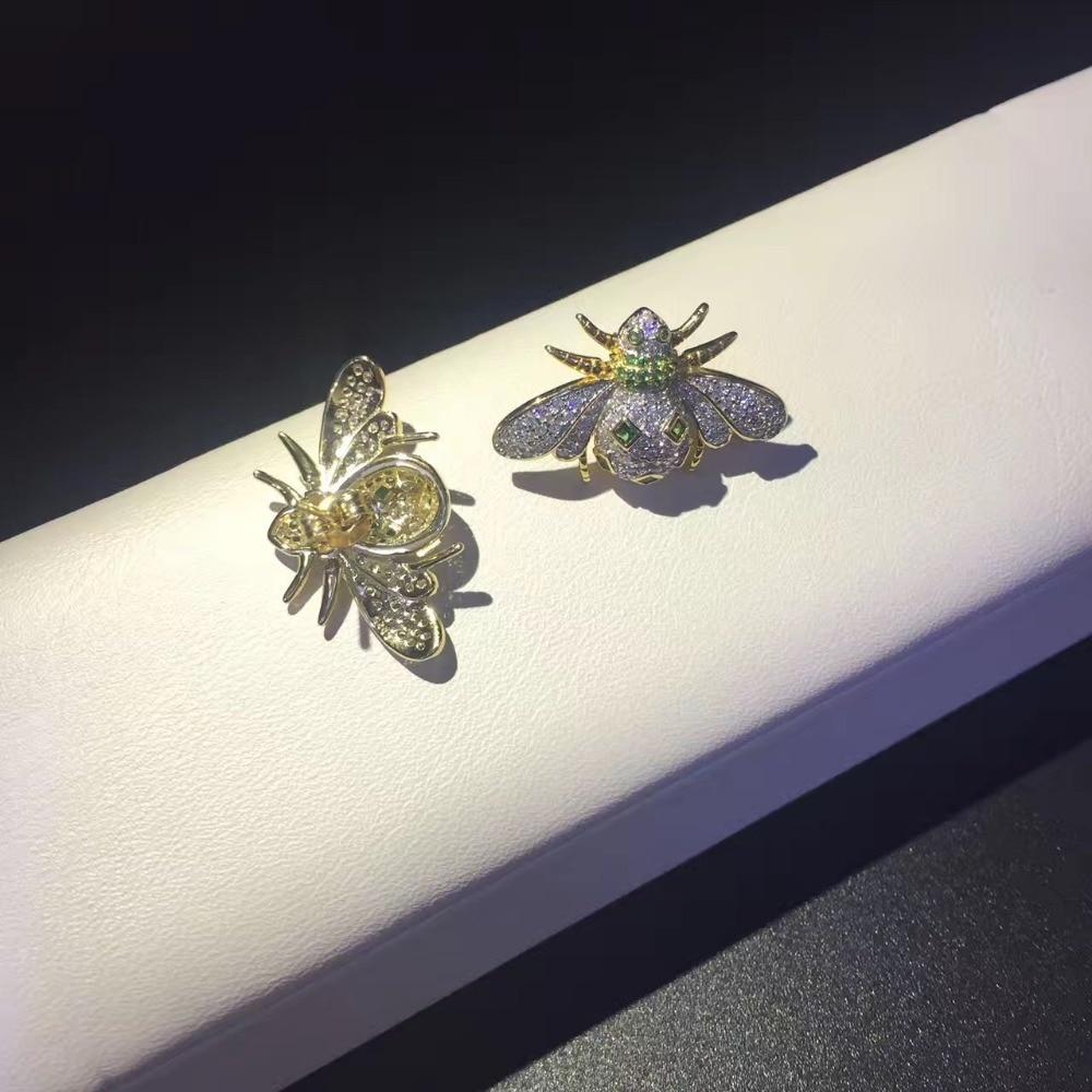 925 argent sterling avec zircon cubique abeille stud boucle d'oreille mode femmes bijoux livraison gratuite - 4