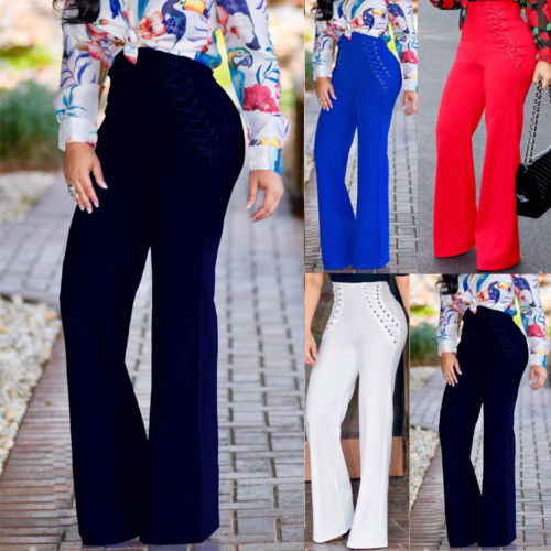 Women Palazzo High Waist   Wide     Leg   Ol Career Solid Long   Pants   Button Casual Trousers