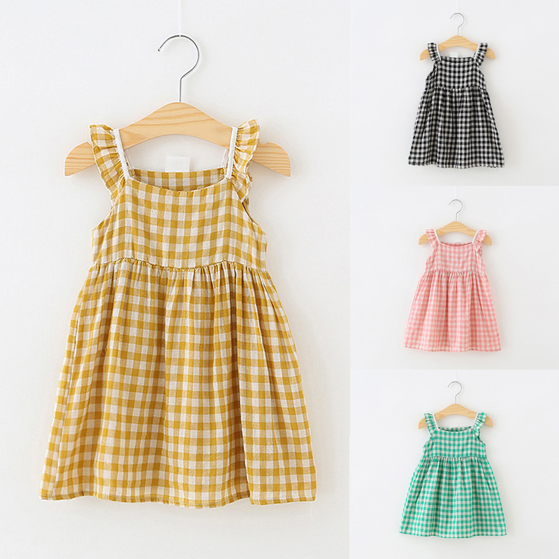 Plaid Kids Dresses For Girls Summer Sleeveless Baby Girl Dress Casual Soft Cotton Children Clothes Baby Child Princess Costumes
